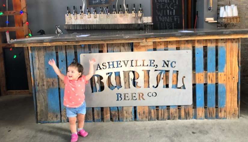 My daughter had a great time on this trip. Here she's pictured at Burial Brewing Co. in Asheville, NC