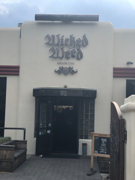 The entrance to Wicked Weed Brewing in Asheville, NC
