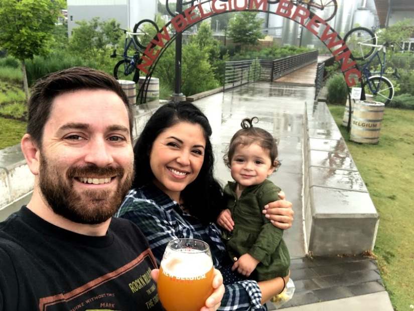 Family selfie portrait at the entrance to New Belgium Brewing in Asheville, NC